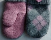 Upcycled  Felted Wool Mitts/ Pink and Grey/ Recycled/ Buttons/  Hand Stitched/ Fleece Lined