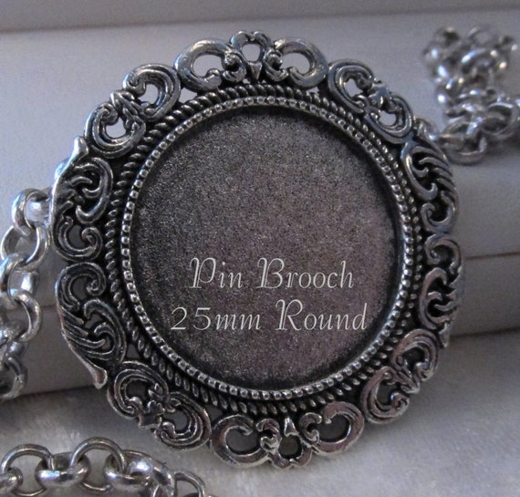 25mm Round Pin Brooch Antique Silver Sunny Iv 1 Pc
