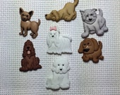 Dog Needle Minder or refrigerator Magnet cross stitch embroidery bow white puppy doggie