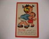 """Original Vintage Valentine Postcard Linen By Metrocraft #700 Funny """"Blow Yourself To A Postage Stamp"""" Girl and Boy 1930's"""