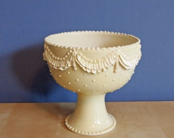compote bowl with ruffles and dots in buttercream
