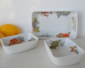 Vintage K&A Krautheim Selb Bavaria Germany Set of Three Rectangular Dishes, Sealife and Vegetable Motif