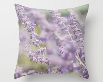 Photo Pillow cover, soft lavendar throw pillow, purple art pillow, purple green, new england summer flowers pillow, unique living room decor