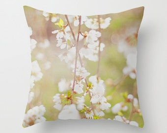 Pillow cover, white cherry blossoms photo pillow, spring flowers throw pillow, white green pillow, flowers pillow, living room decor