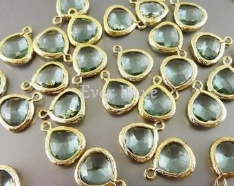 2 prasiolite green glass pendants, light green teardrops with gold bezel frame, charms 5064G-PR-10 (bright gold, prasiolite, 10mm, 2 pieces)