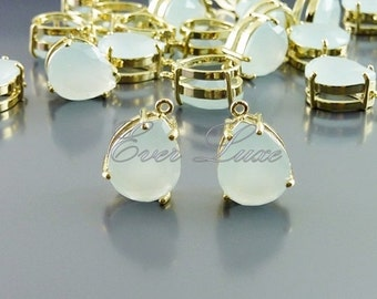 2 alice blue faceted teardrop glass charms in brass setting, wedding / bridal, jewelry making 5067G-ALB (bright gold, Alice blue, 2 pieces)