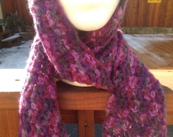 Pink and Purple Scarf  Hand Crochet Soft and Warm