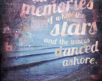 "Sweet Salt-Faded Memories - 36"" x 48"" original mixed media painting - inspirational nautical beach word art"