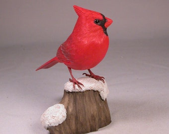 4-5/8 inch Cardinal (male) on Wooden Carved snow base