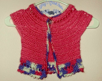 Girls Crochet Bolero Sweater Shrug Clothing Pink Purple