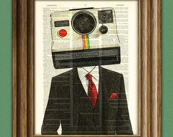 The POLAROID HEAD Instant Land Camera Man in a suit illustration beautifully upcycled dictionary page book art print