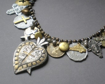 CRAZY SALE Abundance.. Milagro Heart Statement Necklace..  Artisan Hand Made Collage. Ex Voto .Peru Mexico. Blessing Necklace. Frida Kahlo