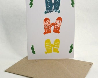 Winter Scene Holiday Cards - Mittens