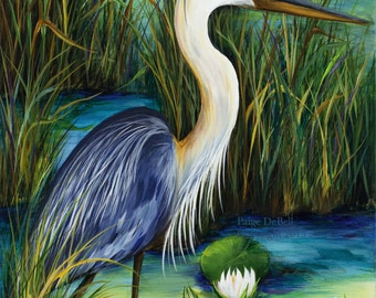 """BLUE HERON in the LILIES  **  11"""" x17"""" Print of Original Acrylic on Canvas"""