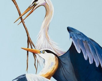 BLUE HERONS NESTING - Acrylic on canvas