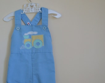 Vintage Pale Blue Overalls with Train Applique - Size 9 Months