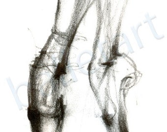 Ballet Art, Pointe Shoes, art print, pencil drawing, black and white art, dance teacher gift, dance gifts, ballet wall art, dance artwork