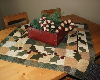 Primitive wool holly quilted wall hanging/table topper