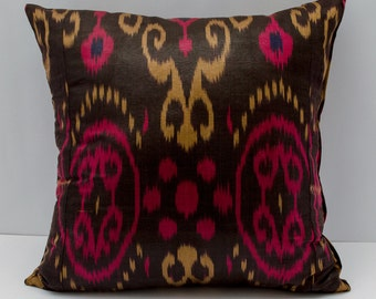 20x20 ikat pillow cover, pink on black ikat pillow, cushion, pink black, 20x20 pillows, 20x20 cushion, pink, black pillows, design pillow
