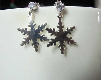 Frozen Elsa Snowflake silver plate with silver cubic post pin earring 20X15cm double side