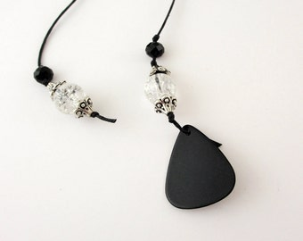 Guitar Pick Book Thong Bookmark Crystal Beads Black