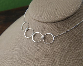 Large four circle infinity necklace in sterling silver, entwined rings, sterling silver ring, interlocking circles, four circles