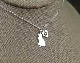 Dog or cat charm with heart paw print necklace in sterling silver, heart charm, cat paw, sterling silver cat, kitty cat, feline, cat jewelry