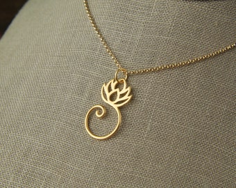 Gold vermeil lotus pendant and gold filled necklace, charm holder, lotus necklace, gold lotus flower, lotus charm, gold necklace