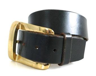 Vintage Calderon USA Black Leather Belt // 28