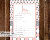 Giraffe Wishes for Baby Card, Baby Shower Printable, Baby Shower Insert, Advice Card, Baby Shower Wishes for Baby