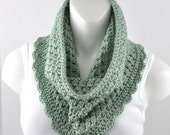 Crochet Cowl Scarf Neckwarmer Green Heather