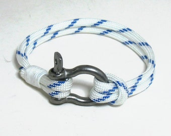 Nautical Shackle Rope Bracelet Blue and White Stripe 165