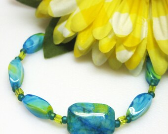 Sale Blue Spiderstone Bracelet - Teal Blue Bracelet - Gemstone Bracelet - Glass Bracelet - Womens Bracelet - Handmade
