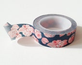 Navy Flower Washi Tape Red Outline Deco Paper Tape