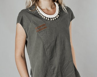 new COLOR  A line olive stone washed cotton denim mini dress, jeans dress