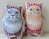 Cat  Plush Pillow Set of Two, Valentines Gift for couples,  plush toy/ gift for cat lovers