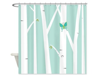 BUTTERFLY & BIRCH TREES Shower Curtain