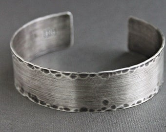 Mens Rustic Cuff Bracelet, Sterling Silver Hammered Bangle