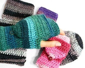 Angelica - Easy Fingerless Mitten with Flaps for All Sizes - Crochet Fingerless Mitten Pattern - Convertible Mitten - Crochet Glove Pattern