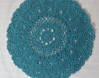 River Blue Doily-10.5 inch Doily-Turquoise Pineapple Table Cover Doily-Hand Crocheted Textured Cotton Thread Doily-Cindy's Loft