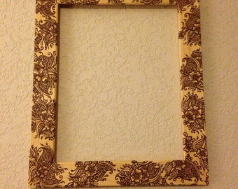 Frame handcrafted with henna, OOAK, Unique Global Art, Swirly Paisley - Original, Henna Swirls