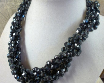 "unsigned ""Les Bernard"" multi stranded faceted onyx bead necklace"