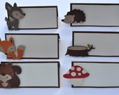 Woodland themed, birthday or baby shower place cards, or food tents set of 12