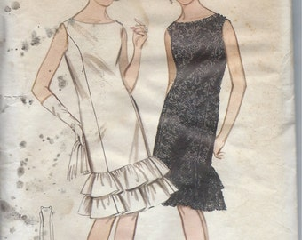 1960's Butterick Pattern No. 3387:  Sleeveless Cocktail Dress with Princess Seams and Ruffle Hemline  Bust 34
