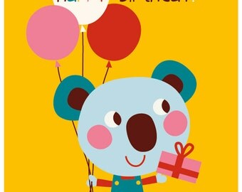 Happy Birthday - card & envelop - koala