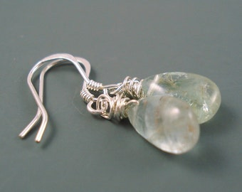 Moss Aquamarine Smooth Teardrop Earrings with Sterling Silver French Wires