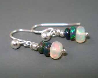 Opal Earrings, Tiny Ethiopian Opal Dangle Earrings with White and Blue Opals on Sterling Silver French Wires