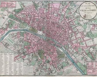 antique french map of paris france illustration dated 1828 digital download