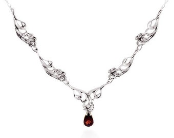 Hawaiian Lily Necklace with Gemstone in Sterling Silver