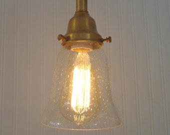 Refurbished PENDANT LIGHT of Seeded Glass with Edison Bulb